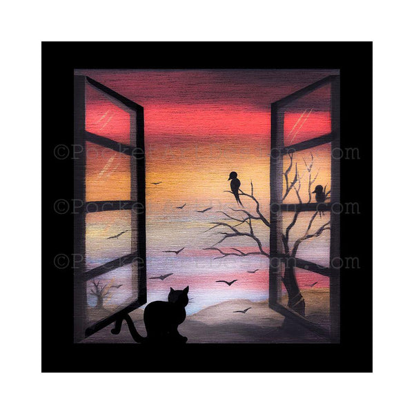 "Cat on the window birds on the tree - night - silhouette - Original miniature art Print on 4""x 4"" wood-Print-Easel Wood-PocketArtDesigns-Original Art-wall rt"