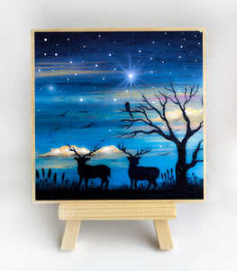 "Two deer in the field near a tree - night - silhouette - Original miniature art Print on 4""x 4"" wood-Print-Easel Wood-PocketArtDesigns-Original Art-wall rt"