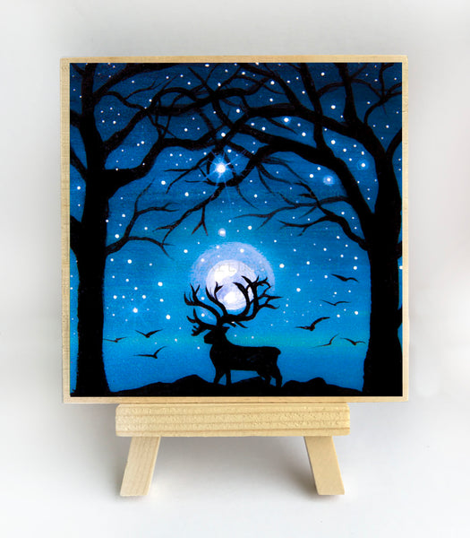 "Deer under the trees - night - silhouette - Original miniature art Print on 4""x 4"" wood-Print-Easel Wood-PocketArtDesigns-Original Art-wall rt"