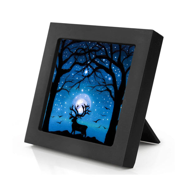 "Deer under the trees - night - silhouette - Original miniature art Print on 4""x 4"" wood-Print-Mini Frame (+$5.00)-PocketArtDesigns-Original Art-wall rt"