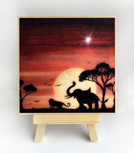 "Elephant and monkey - full moon night - silhouette - Original miniature art Print on 4""x 4"" wood-Print-Easel Wood-PocketArtDesigns-Original Art-wall rt"