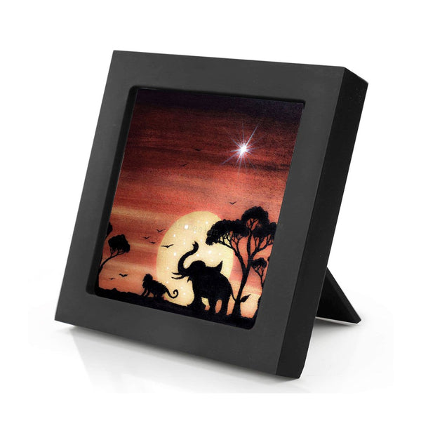 "Elephant and monkey - full moon night - silhouette - Original miniature art Print on 4""x 4"" wood-Print-Mini Frame (+$5.00)-PocketArtDesigns-Original Art-wall rt"