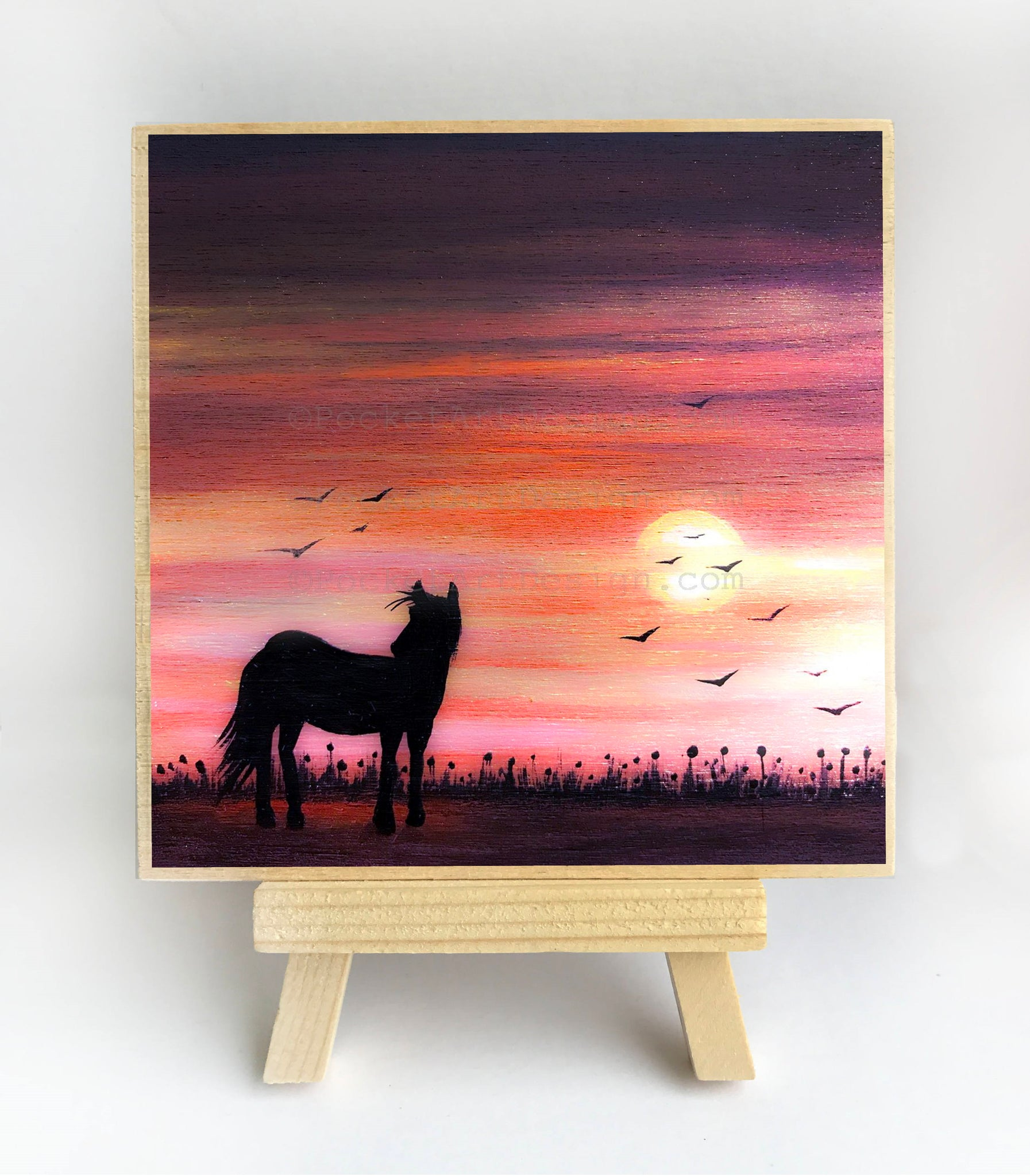 "Horse in the field - sunset - silhouette - Original miniature art Print on 4""x 4"" wood-Print-Easel Wood-PocketArtDesigns-Original Art-wall rt"