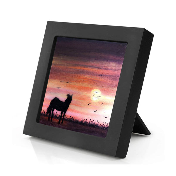 "Horse in the field - sunset - silhouette - Original miniature art Print on 4""x 4"" wood-Print-Mini Frame (+$5.00)-PocketArtDesigns-Original Art-wall rt"