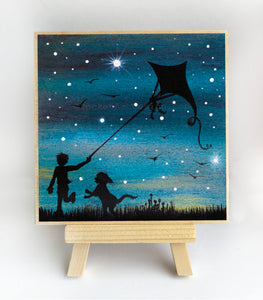 "Dog with a boy flying a kite - night - silhouette - Original miniature art Print on 4""x 4"" wood-Print-Easel Wood-PocketArtDesigns-Original Art-wall rt"