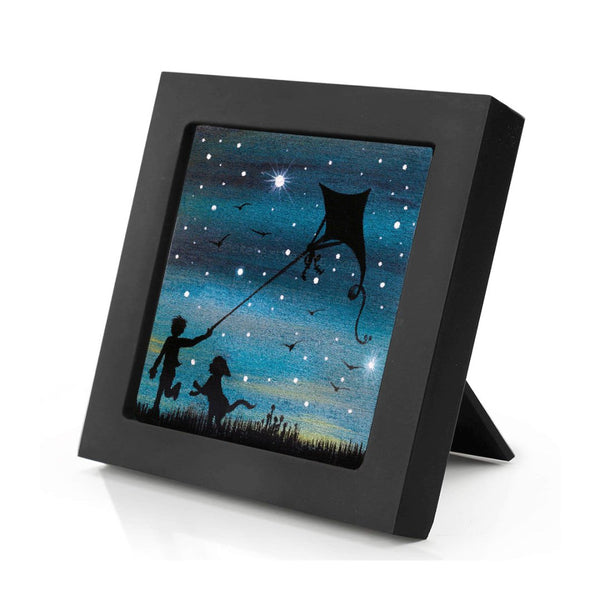 "Dog with a boy flying a kite - night - silhouette - Original miniature art Print on 4""x 4"" wood-Print-Mini Frame (+$5.00)-PocketArtDesigns-Original Art-wall rt"