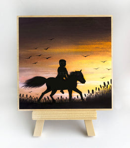 "Boy on a hours - sunset - silhouette - Original miniature art Print on 4""x 4"" wood-Print-Easel Wood-PocketArtDesigns-Original Art-wall rt"