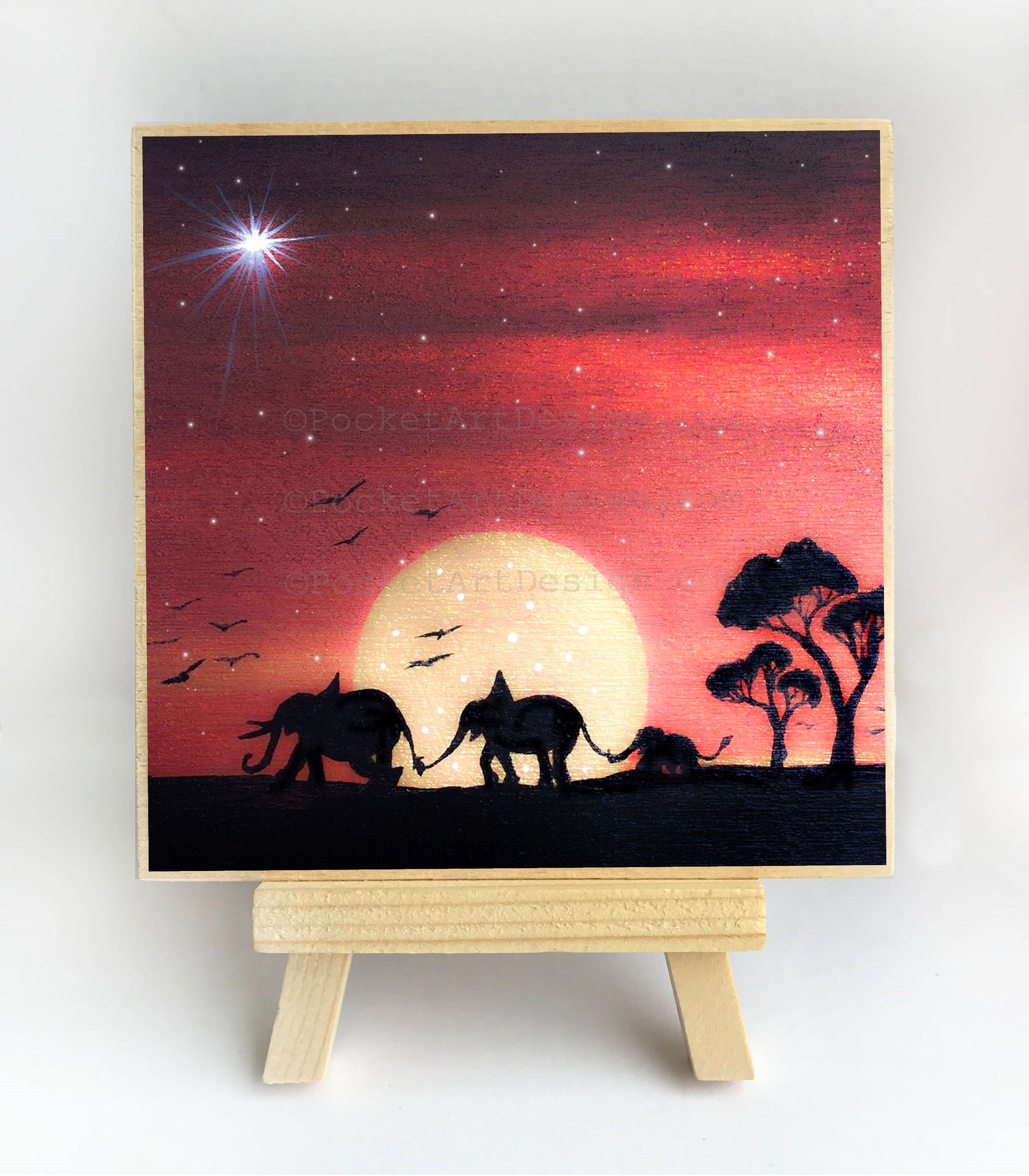 "Mama papa baby elephant - sunset - silhouette - Original miniature art Print on 4""x 4"" wood-Print-Easel Wood-PocketArtDesigns-Original Art-wall rt"