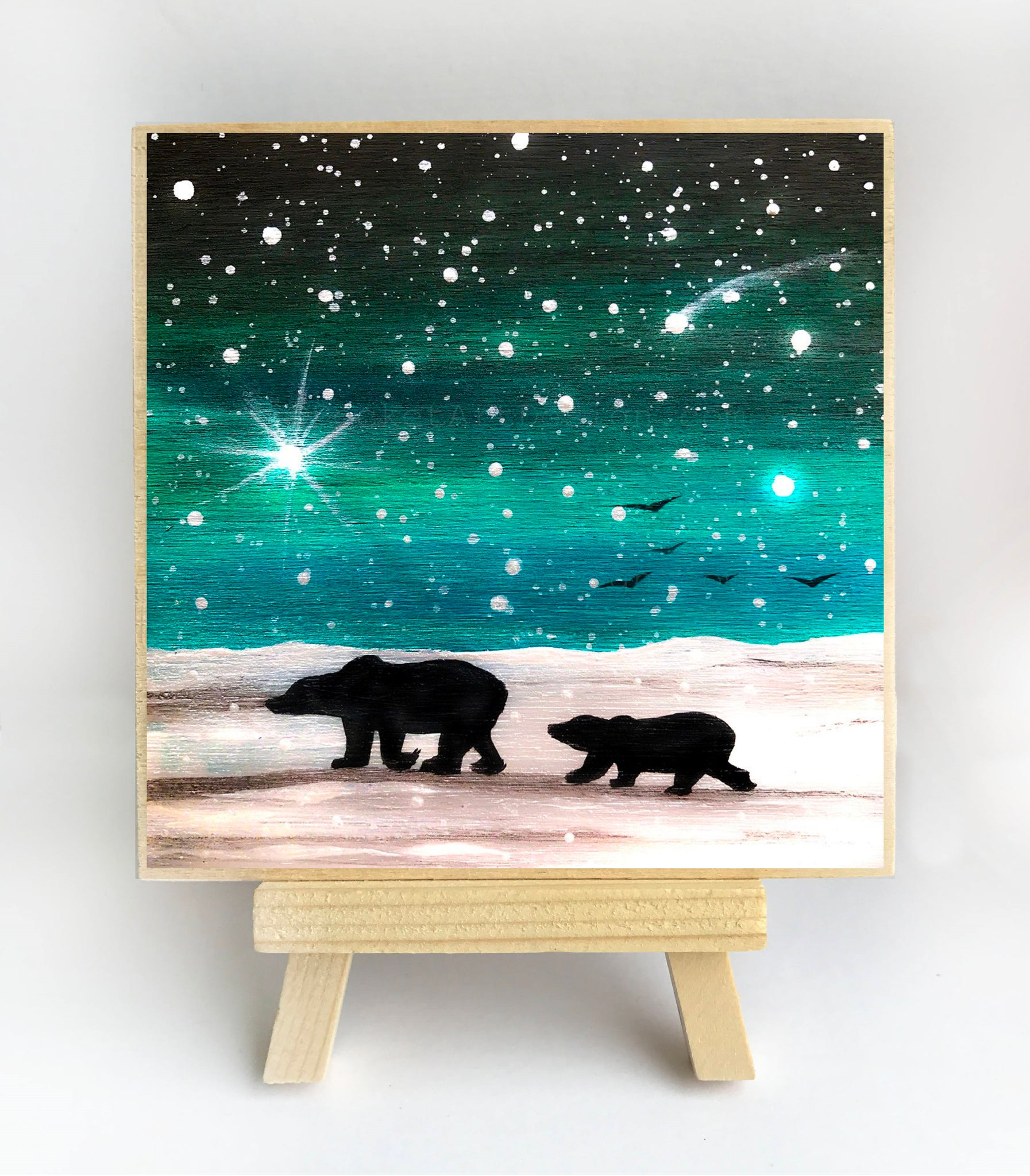 "Mama bear and baby bear walking - night full of stars - silhouette - Original miniature art Print on 4""x 4"" wood-Print-Easel Wood-PocketArtDesigns-Original Art-wall rt"