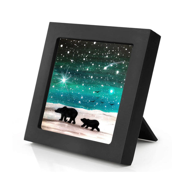 "Mama bear and baby bear walking - night full of stars - silhouette - Original miniature art Print on 4""x 4"" wood-Print-Mini Frame (+$5.00)-PocketArtDesigns-Original Art-wall rt"