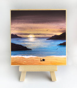"Sunset over the ocean - silhouette - Original miniature art print on 4""x 4"" wood-Print-Easel Wood-PocketArtDesigns-Original Art-wall rt"