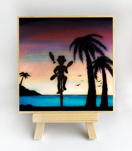 "Gaggling on a bicycle - silhouette - Original miniature art print on 4""x 4"" wood-Print-Easel Wood-PocketArtDesigns-Original Art-wall rt"