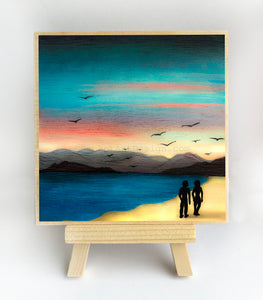 "Walking on the beach - silhouette - Original miniature art print on 4""x 4"" wood-Print-Easel Wood-PocketArtDesigns-Original Art-wall rt"