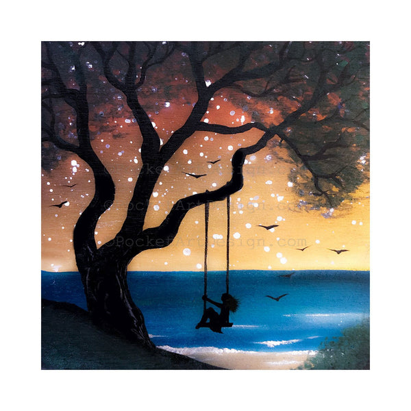 "Girl swing at the beach - sunset - silhouette - Original miniature art print on 4""x 4"" wood-Print-Easel Wood-PocketArtDesigns-Original Art-wall rt"