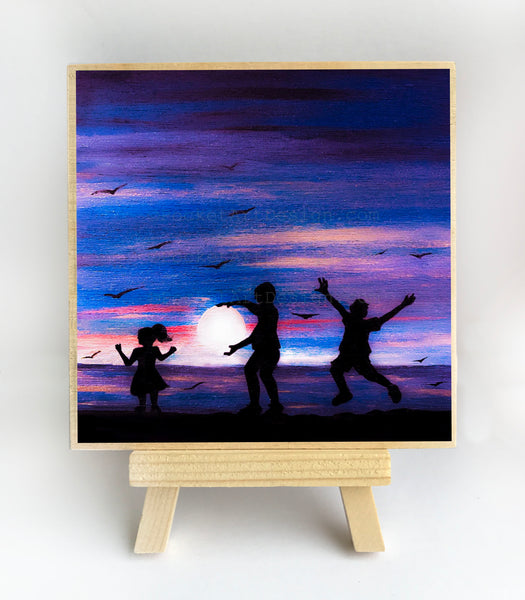 "Girl and boys dancing on the beach - silhouette - Original miniature art print on 4""x 4"" wood-Print-Easel Wood-PocketArtDesigns-Original Art-wall rt"