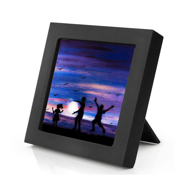 "Girl and boys dancing on the beach - silhouette - Original miniature art print on 4""x 4"" wood-Print-Mini Frame (+$5.00)-PocketArtDesigns-Original Art-wall rt"