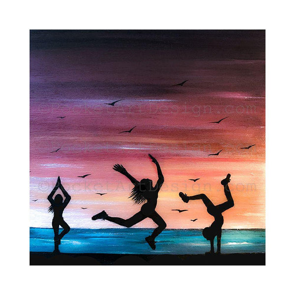 "Girls dancing on the beach - silhouette - Original miniature art print on 4""x 4"" wood-Print-Easel Wood-PocketArtDesigns-Original Art-wall rt"