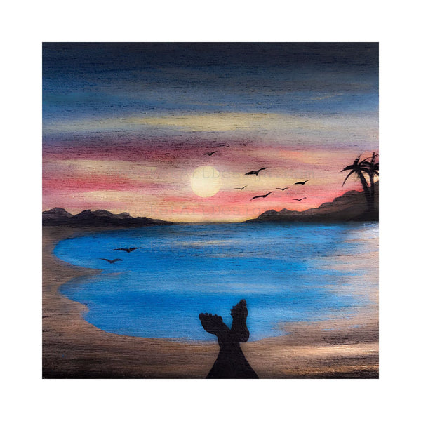 "Feet view - beach - silhouette - Original miniature art print on 4""x 4"" wood-Print-Easel Wood-PocketArtDesigns-Original Art-wall rt"