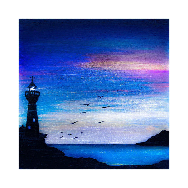 "Lighthouse - silhouette - Original miniature art print on 4""x 4"" wood-Print-Easel Wood-PocketArtDesigns-Original Art-wall rt"