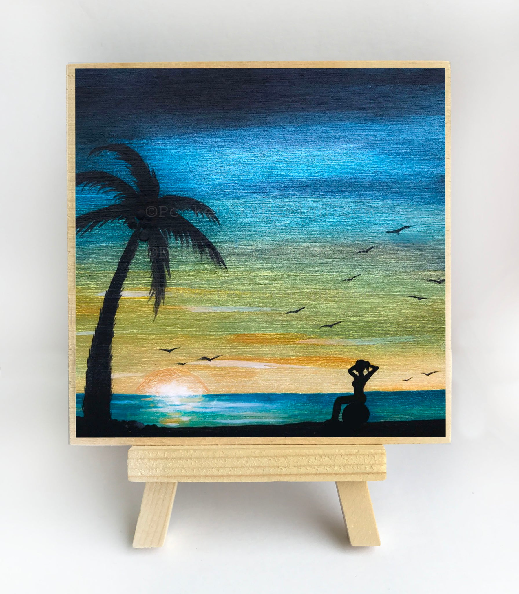 "Girl sitting on a ball - beach - silhouette - Original miniature art print on 4""x 4"" wood-Print-Easel Wood-PocketArtDesigns-Original Art-wall rt"