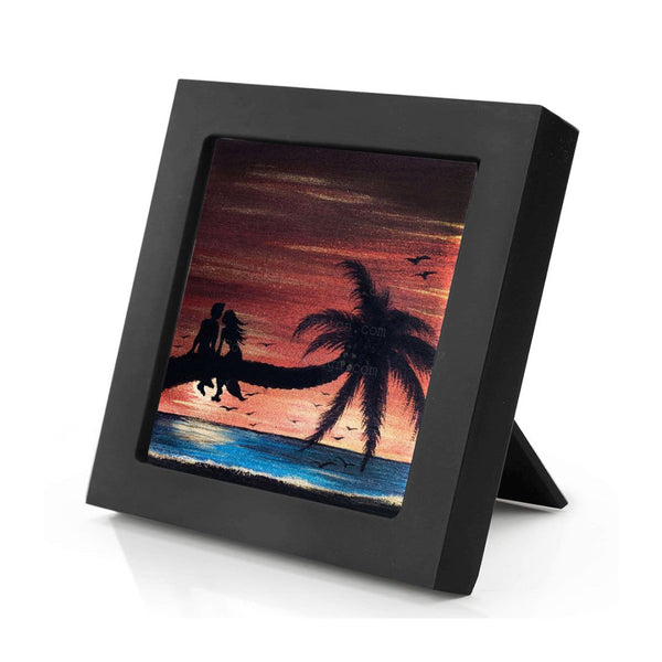 "Romantic at the beach - silhouette - Original miniature art print on 4""x 4"" wood-Print-Mini Frame (+$5.00)-PocketArtDesigns-Original Art-wall rt"