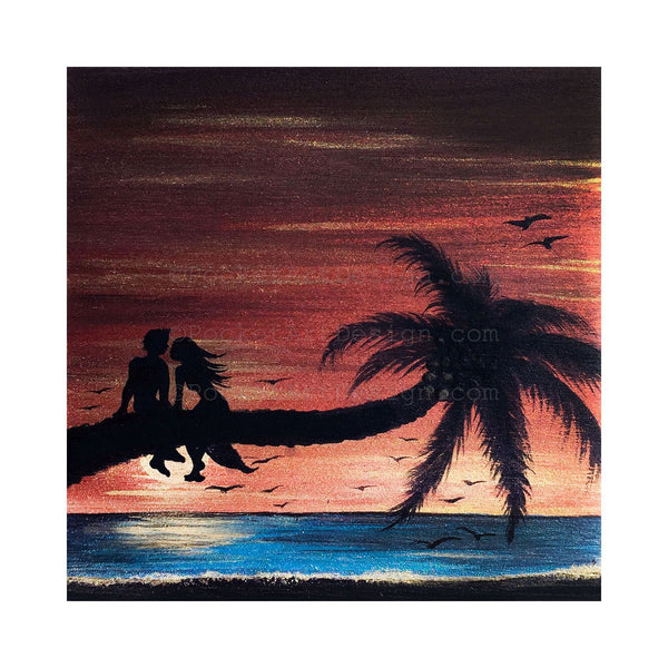 "Romantic at the beach - silhouette - Original miniature art print on 4""x 4"" wood-Print-Easel Wood-PocketArtDesigns-Original Art-wall rt"