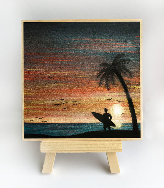"Boy with a surfboard on the beach - silhouette - Original miniature art print on 4""x 4"" wood-Print-Easel Wood-PocketArtDesigns-Original Art-wall rt"