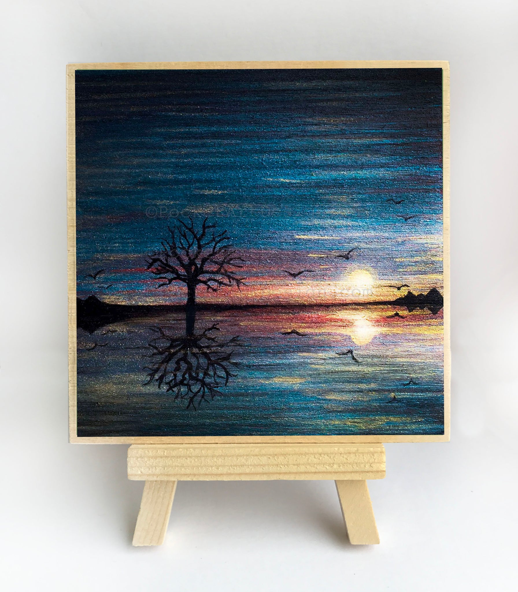 "Reflection of a tree on the ocean - silhouette - Original miniature art print on 4""x 4"" wood-Print-Easel Wood-PocketArtDesigns-Original Art-wall rt"