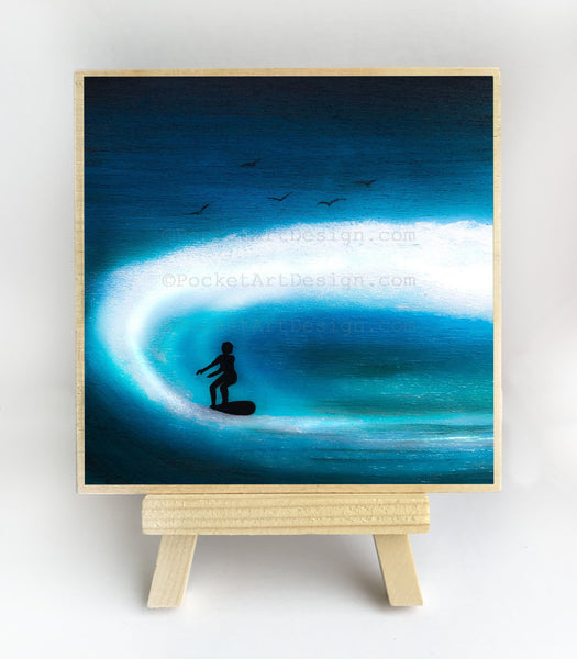 "Boy surfing - silhouette - Original miniature art print on 4""x 4"" wood-Print-Easel Wood-PocketArtDesigns-Original Art-wall rt"