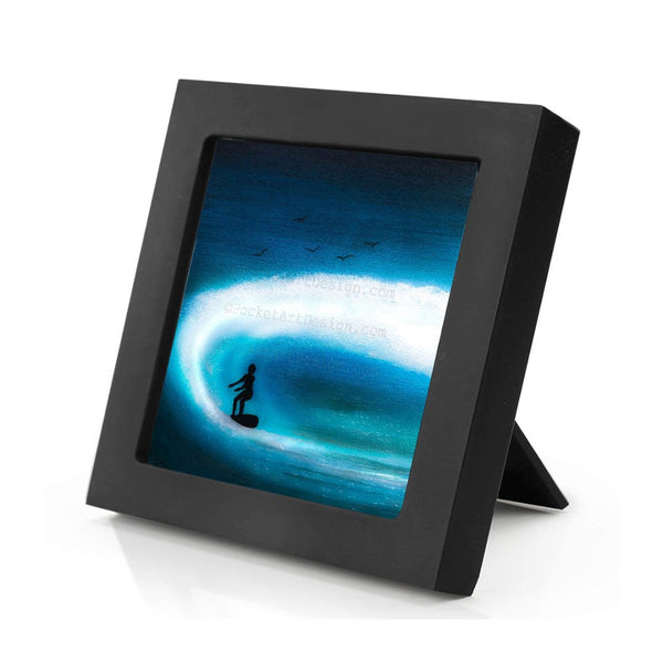 "Boy surfing - silhouette - Original miniature art print on 4""x 4"" wood-Print-Mini Frame (+$5.00)-PocketArtDesigns-Original Art-wall rt"