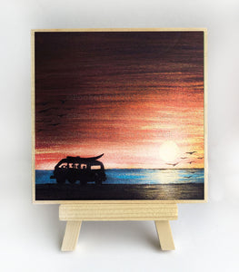 "Car with a surfboard riding on a beach - silhouette - Original miniature art print on 4""x 4"" wood-Print-Easel Wood-PocketArtDesigns-Original Art-wall rt"