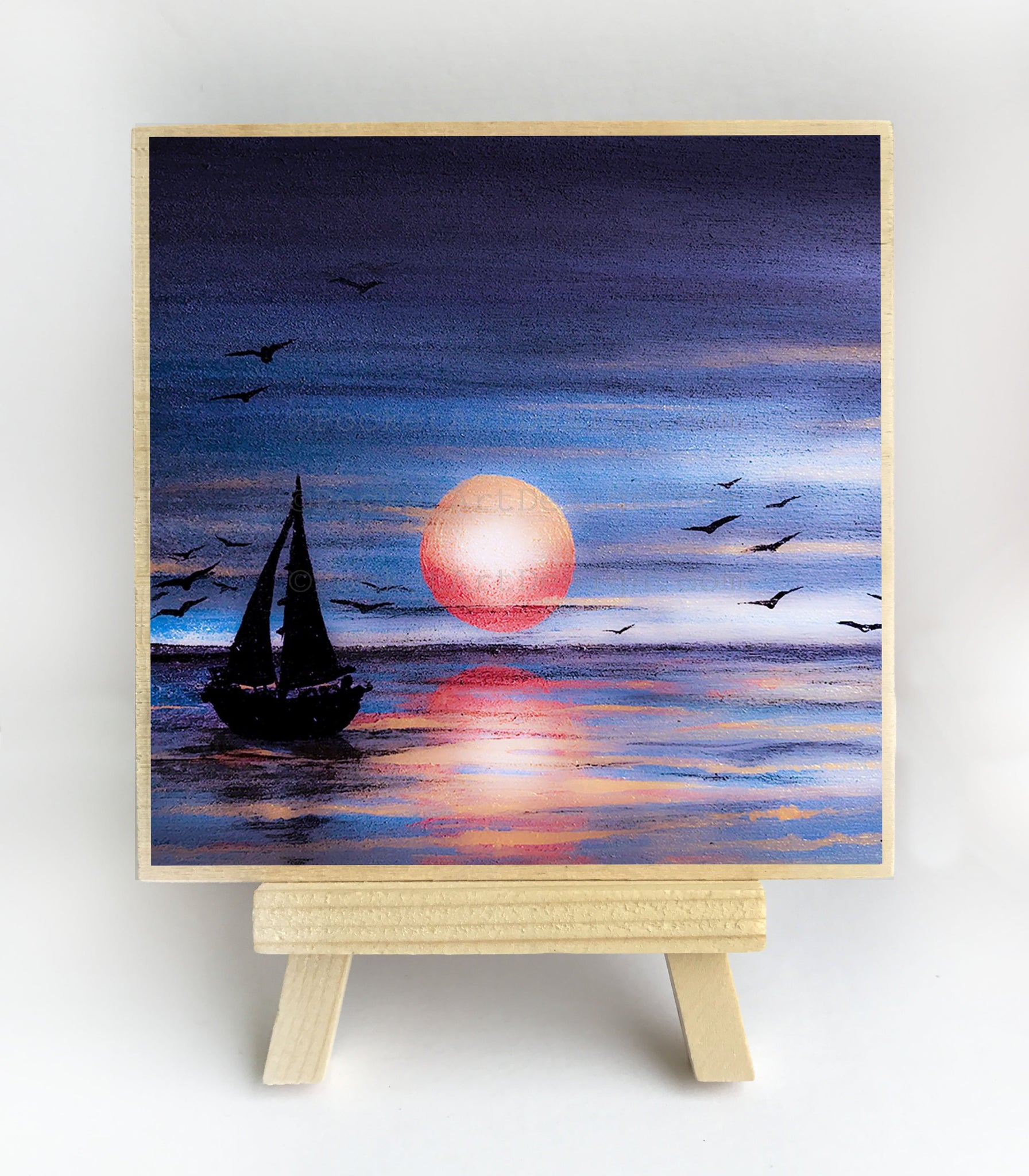 "Boat sailing at night - silhouette - Original miniature art print on 4""x 4"" wood-Print-Easel Wood-PocketArtDesigns-Original Art-wall rt"