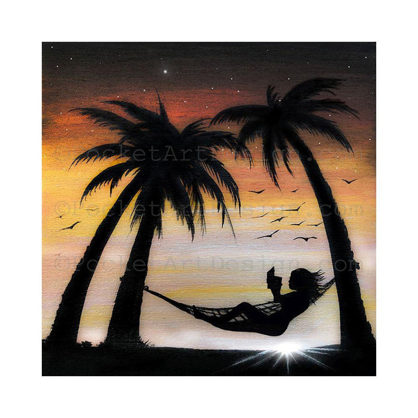 "Girl reading a book on a hummock - beach - silhouette - Original miniature art print on 4""x 4"" wood-Print-Easel Wood-PocketArtDesigns-Original Art-wall rt"