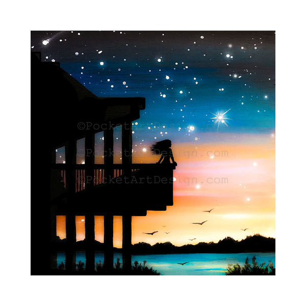 "Girl on a balcony - beach - silhouette - Original miniature art print on 4""x 4"" wood-Print-Easel Wood-PocketArtDesigns-Original Art-wall rt"