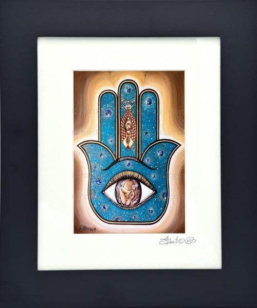Original art metallic print Beginning Hamsa - Symbol of protraction - 8x10 or 11x14 with wood frame