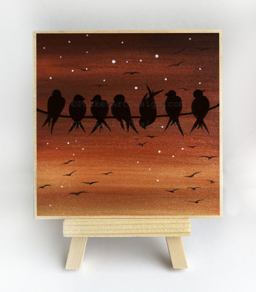 Birds on wire - night - silhouette - original miniature art print on 4 x 4 wood-Print-Easel Wood-PocketArtDesigns-Original Art-wall rt