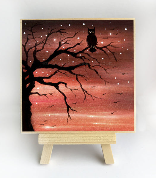 Owl on a tree - night - silhouette - original miniature art print on 4 x 4 wood-Print-Easel Wood-PocketArtDesigns-Original Art-wall rt