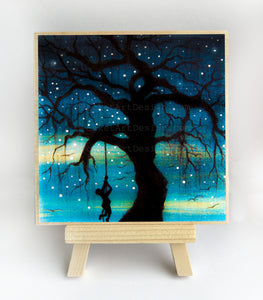 Swing on a tree - night - silhouette - original miniature art print on 4 x 4 wood-Print-Easel Wood-PocketArtDesigns-Original Art-wall rt