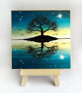 Tree reflection - sunset - silhouette - original miniature art print on 4 x 4 wood-Print-Easel Wood-PocketArtDesigns-Original Art-wall rt