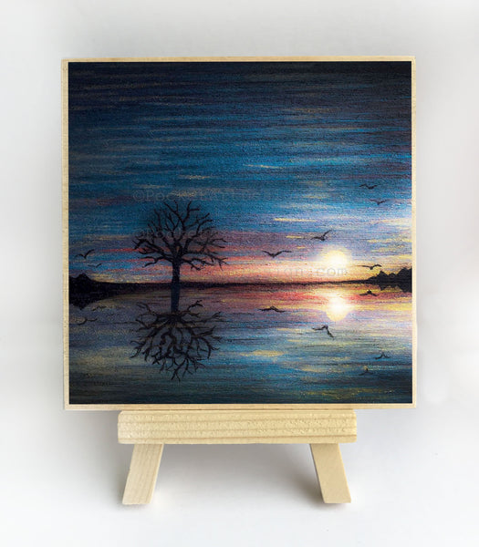Tree and birds reflection on the ocean - sunset - silhouette - original miniature art print on 4 x 4 wood-Print-Easel Wood-PocketArtDesigns-Original Art-wall rt