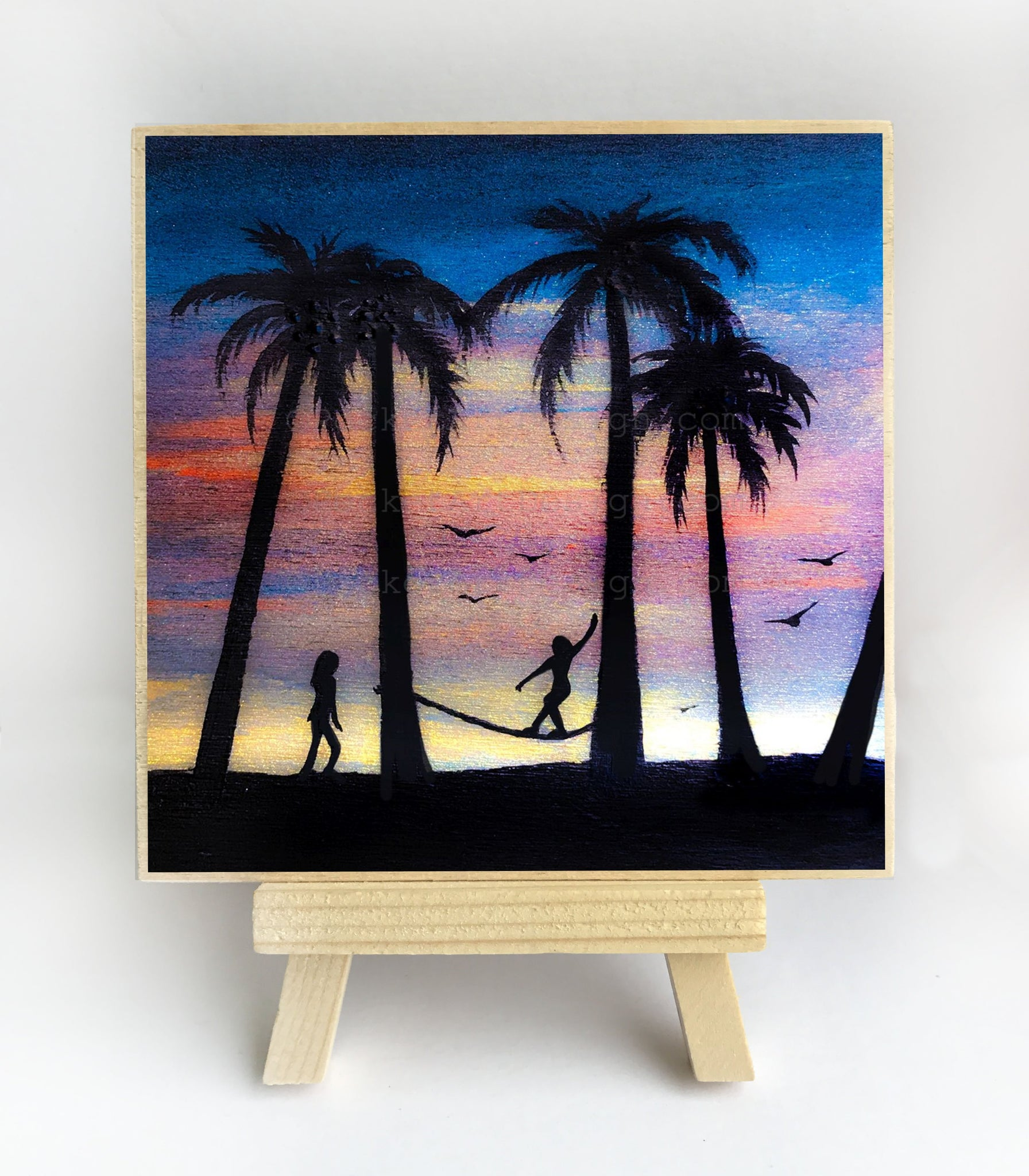 Girl walking on a rope - night - silhouette - original miniature art print on 4 x 4 wood-Print-Easel Wood-PocketArtDesigns-Original Art-wall rt