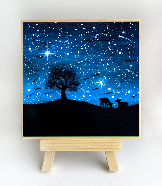 Deer and birds - night - silhouette - original miniature art print on 4 x 4 wood-Print-Easel Wood-PocketArtDesigns-Original Art-wall rt