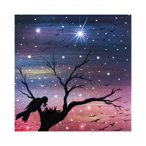 Bird feeding her babies - night - silhouette - original miniature art print on 4 x 4 wood-Print-Easel Wood-PocketArtDesigns-Original Art-wall rt