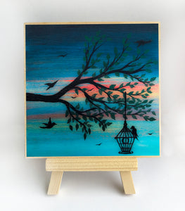 Birds - night - silhouette - original miniature art print on 4 x 4 wood-Print-Easel Wood-PocketArtDesigns-Original Art-wall rt