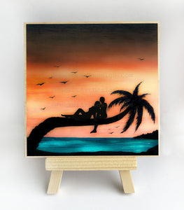 Romantic on a palm tree - sunset - silhouette - original miniature art print on 4 x 4 wood-Print-Easel Wood-PocketArtDesigns-Original Art-wall rt