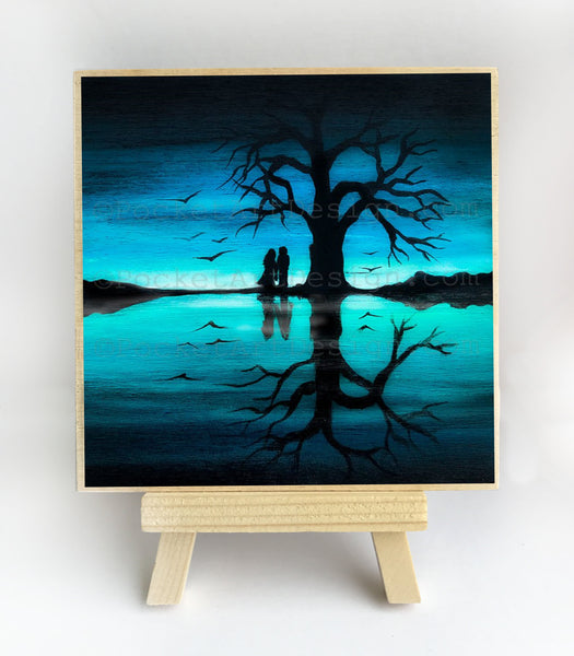 Romantic in front of the ocean - night - silhouette - original miniature art print on 4 x 4 wood-Print-Easel Wood-PocketArtDesigns-Original Art-wall rt