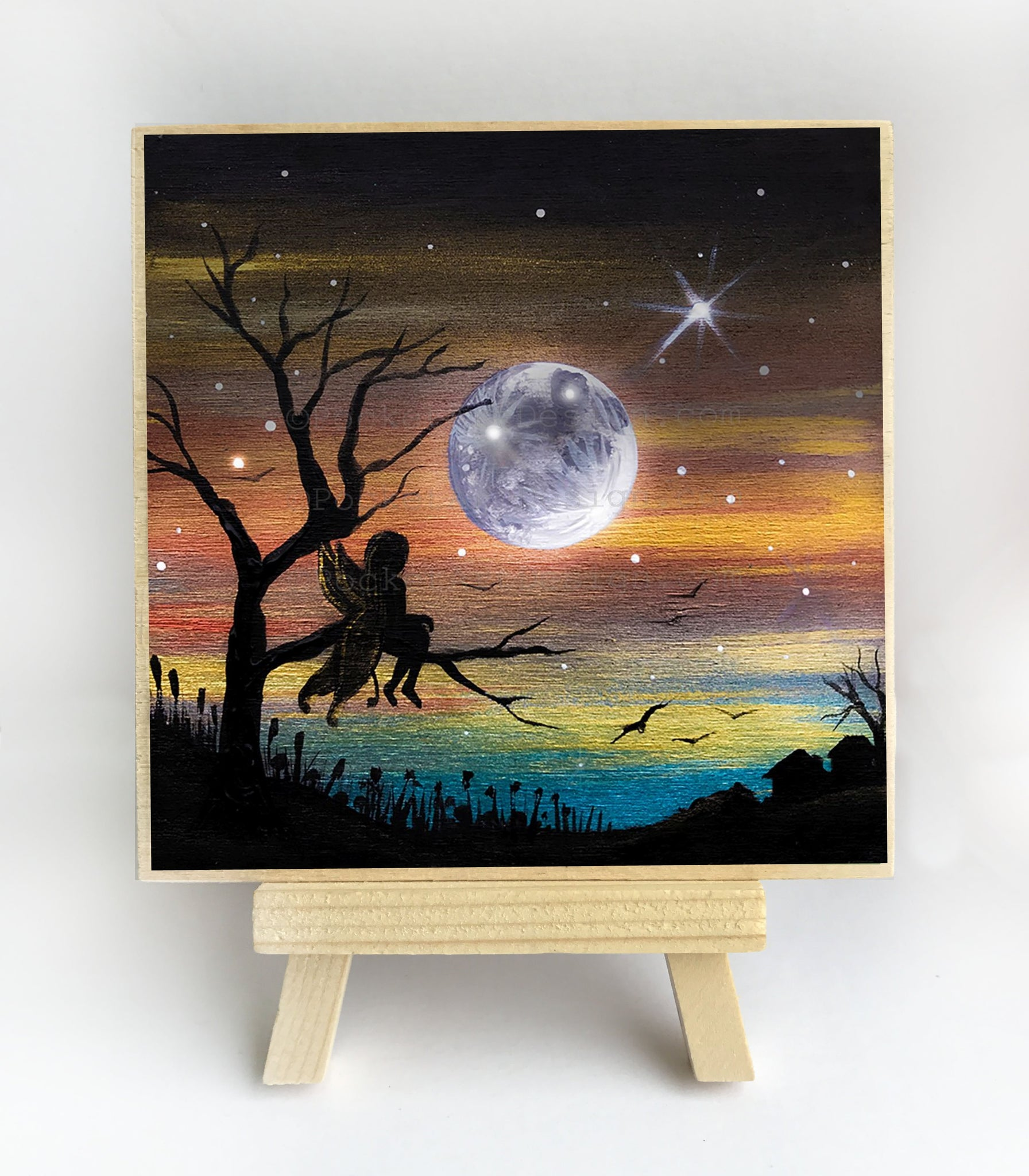 Fairy on a tree - night - silhouette - original miniature art print on 4 x 4 wood-Print-Easel Wood-PocketArtDesigns-Original Art-wall rt