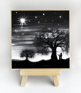 Mother and a child watching the starts - night - silhouette - original miniature art print on 4 x 4 wood-Print-Easel Wood-PocketArtDesigns-Original Art-wall rt