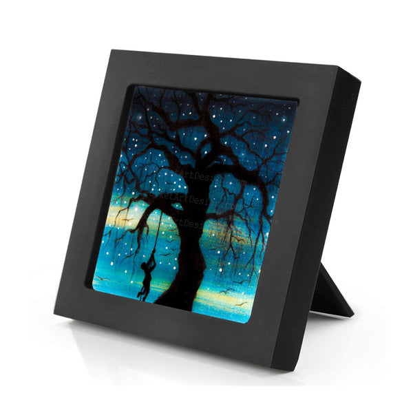 Swing on a tree - night - silhouette - original miniature art print on 4 x 4 wood-Print-Mini Frame (+$5.00)-PocketArtDesigns-Original Art-wall rt