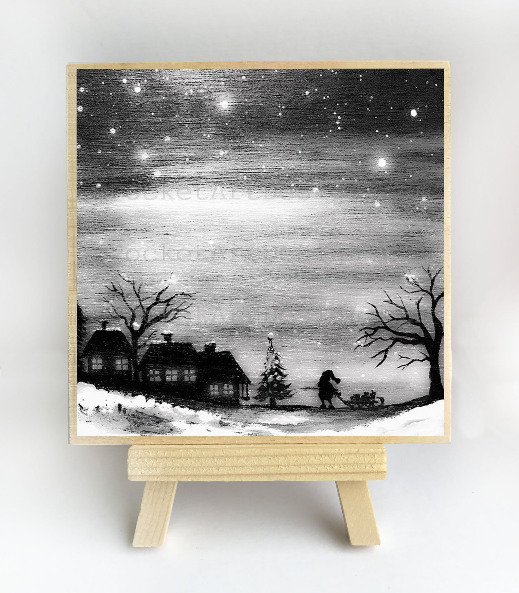 Christmas time - night - silhouette - original miniature art print on 4 x 4 wood-Print-Easel Wood-PocketArtDesigns-Original Art-wall rt